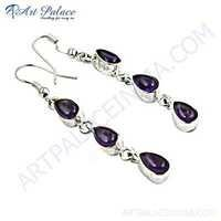 Fabulous Amethyst Glass Three Stone Sterling Silver Earrings
