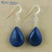 Boucle d'oreille d'argent de pierre gemme de lazulite de Lapis