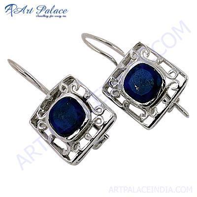 Cute Lapis Lazuli Gemstone Silver Fret Work Earrings