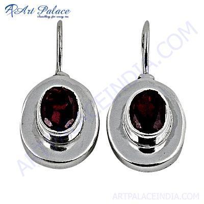 Hot !! Garnet Gemstone Sterling Silver Earrings