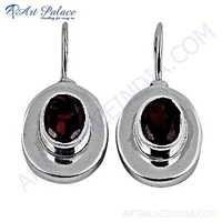 Hot !! Garnet Gemstone Sterling Silver Earrings
