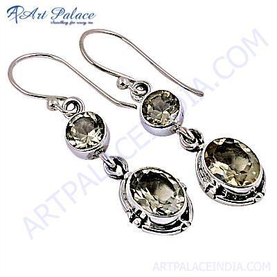 Truly Designer Citrine Gemstone Silver Earrings