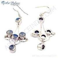 Fashion Accessories Rainbow Moonstone Gemstone Silver Earrings