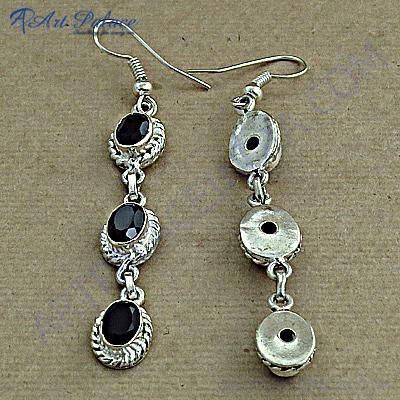 Indian Deisgner Gemstone Silver Earrings With Black Onyx