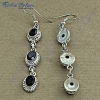 Indian Deisgner Gemstone Silver Earrings With Black Onyx