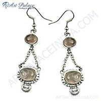 Unique Style Rose Quartz Gemstone Silver Earrings