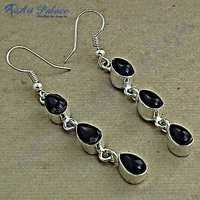 Fastival Designer Smokey Quartz Gemstone Silver Earrings