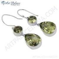 New Extra Shine Gemstone Silver Earrings With Lemon Quartz
