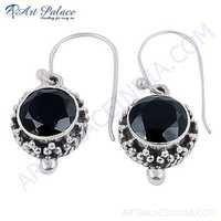 Midnight Black Onyx Gemstone Designer Silver Earrings
