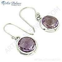 Charming Amethyst Gemstone Silver Earrings