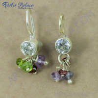 Popular Fashionable Multi Stone Gemstone Silver Earrings, 925 Sterling Silver Jewelry