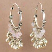 Rainbow Moonstone Gemstone Silver Festive Beaded Earrings