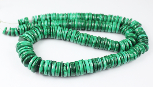 18 Inches - 7.5-15.5mm - Natural Green Malachite Smooth Tyre Beads Strand