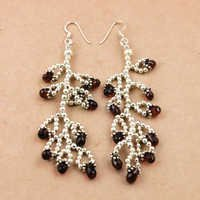 Gracious Fashionable Garnet Gemstone Silver Earrings,925 Sterling Silver Jewelry