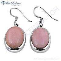 Trendy Pink Opalite Gemstone Silver Earrings