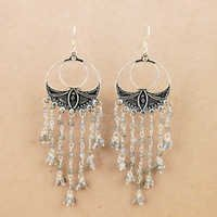 Designer Labradorite Silver Beaded Earrings, 925 Sterling Silver Jewelry