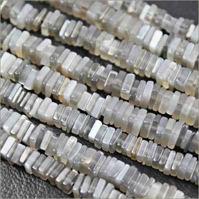 Natural Grey Moonstone Flat Square Cube Beads