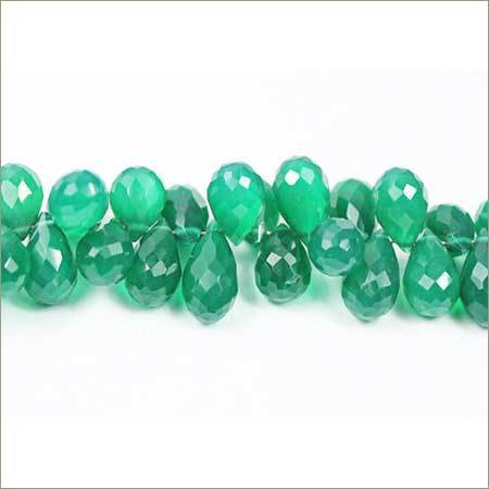 Natural Green 0nyx Faceted Israel Beads