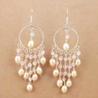 Fantastic Fashionable Pearl & Rose Quartz Silver Beaded Earrings