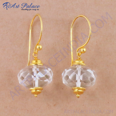 Charming Crystal Gemstone Gold Plated Silver Earrings, 925 Sterling Silver Jewelry