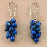 Latest Style Lapis Lazuli Gemstone Silver Earrings, 925 Sterling Silver Jewelry