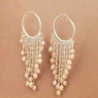 Delicate Pearl & Rose Quartz Gemstone Silver Earrings, 925 Sterling Silver Jewelry