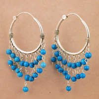 Indian Touch Synthetic Terquiose Gemstone Silver Earrings, Best Wholesale Prices