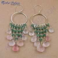 Elegant Fancy Green Aventurian & Rose QuartzGemstone Silver Earrings, 925 Sterling Silver Jewelry