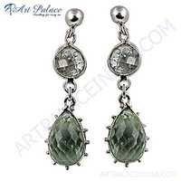 Celeb Style Green Amethyst Gemstone Sterling Silver Earrings