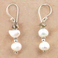 Fashionable Pearl & Smokey Quartz Silver Beaded Earrings