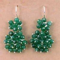 Newest Style Green Onyx Gemstone Silver Earrings, Wholesale Handmade Jewelry