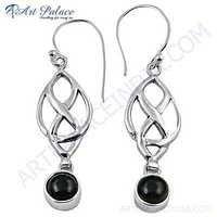 Fret Work Designer Tourmaline Gemstone Silver Earrings