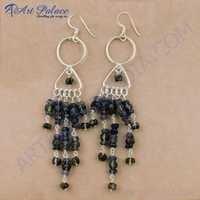 Stylish Iolite & Smokey Quartz Gemstone Silver Earrings, 925 Sterling Silver Jewelry
