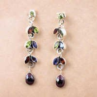 Charming Multi Gemstone Silver Earrings, 925 Sterling Silver Jewelry