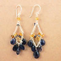 Party Wear Citrine & Iolite Gemstone Silver Earrings, 925 Sterling Silver Jewelry