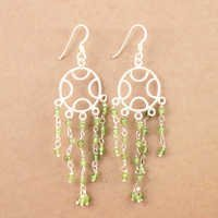 925 Sterling Silver Jewelry, Decent Peridot Gemstone Silver Earrings