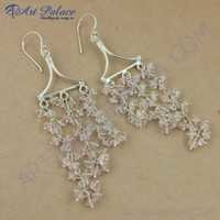 Girls Fashionable Rose Quartz Silver Earrings, 925 Sterling Silver Jewelry