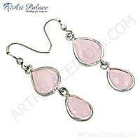 Romantic Rose Quartz Gemstone Silver Earrings