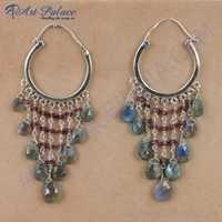 Party Wear Garnet & Labradorite Gemstone Silver Earrings, 925 Sterling Silver Jewelry