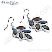 Famous Style Labradorite Gemstone Silver Earrings
