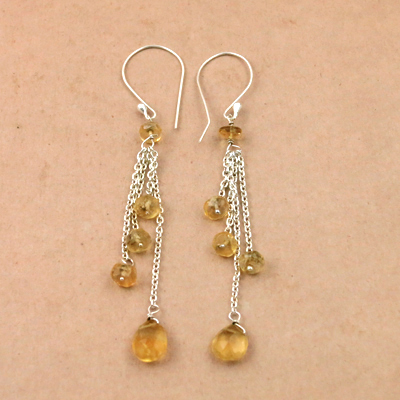 925 Sterling Silver Jewelry, Celeb Style Citrine Gemstone Citrine Silver Earrings