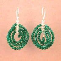 Costume Gemstone Green Aventurian Silver Earrings, 925 Sterling Silver Jewelry