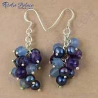 Fashionable Multi Gemstone Silver Earrings, 925 Sterling Silver Jewelry