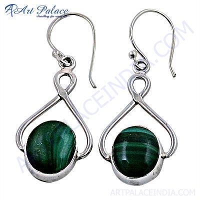 Latest Fashionable Malachite Gemstone Silver Earrings