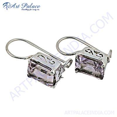 Deisgner Amethyst Gemstone Silver Earrings