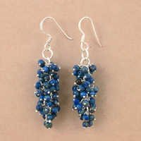 Trendy Gemstone Lapis Lazuli Silver Earrings, 925 Sterling Silver Jewelry