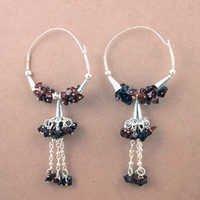 925 Sterling Silver Jewelry, Luxurious Garnet Gemstone Silver Earrings