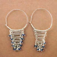 Festive Jewelry Iolite Gemstone Silver Beaded Earrings