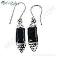 Indian Touch Smokey Quartz Gemstone Silver Earrings