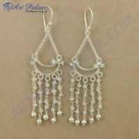 Lastest Beaded Rainbow Moonstone Gemstone Silver Earrings, 925 Sterling Silver Jewelry